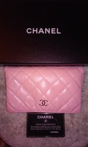 Chanel Chanel Lambskin Quilted Pink Long Wallet Double CC Logo