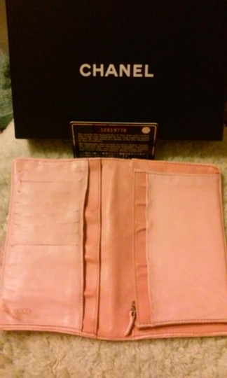 Chanel Chanel Lambskin Quilted Pink Long Wallet Double CC Logo Image 3