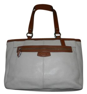 Coach Leather Tote in Ivory/Brown