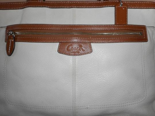 Coach Leather Tote in Ivory/Brown Image 1