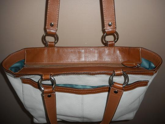 Coach Leather Tote in Ivory/Brown Image 5