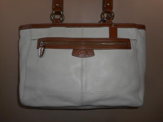 Coach Leather Tote in Ivory/Brown Image 10