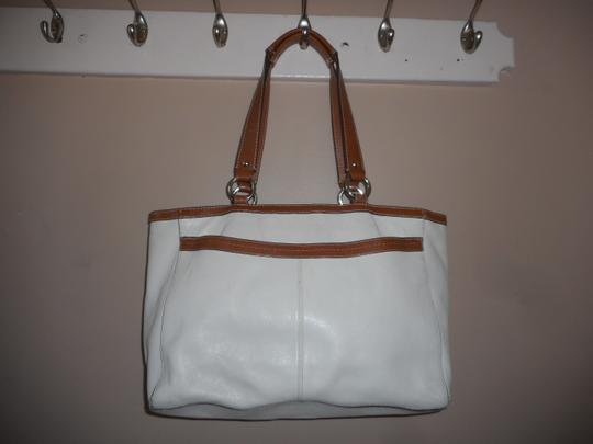 Coach Leather Tote in Ivory/Brown Image 7