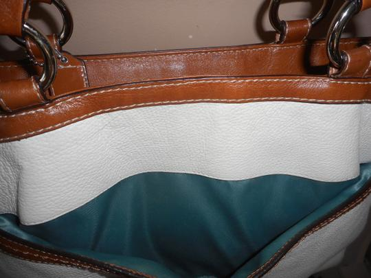 Coach Leather Tote in Ivory/Brown Image 8