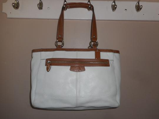Coach Leather Tote in Ivory/Brown Image 9