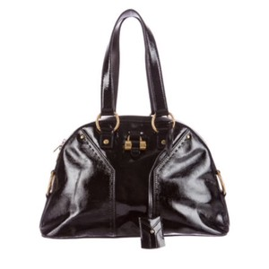 Saint Laurent Muse Yves Patent Leather Muse Ysl Golden Stitches Ysl Tote in Black