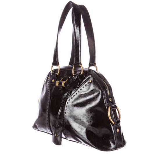 Saint Laurent Muse Yves Patent Leather Muse Ysl Golden Stitches Ysl Tote in Black Image 1