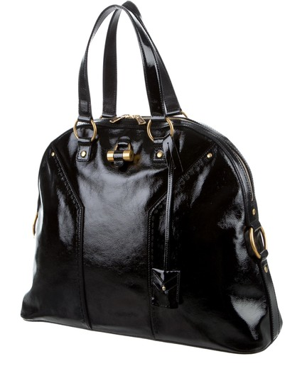 Saint Laurent Muse Yves Patent Leather Muse Ysl Golden Stitches Ysl Tote in Black Image 10