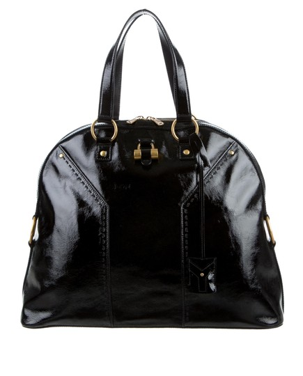 Saint Laurent Muse Yves Patent Leather Muse Ysl Golden Stitches Ysl Tote in Black Image 11