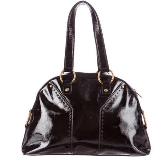 Saint Laurent Muse Yves Patent Leather Muse Ysl Golden Stitches Ysl Tote in Black Image 2