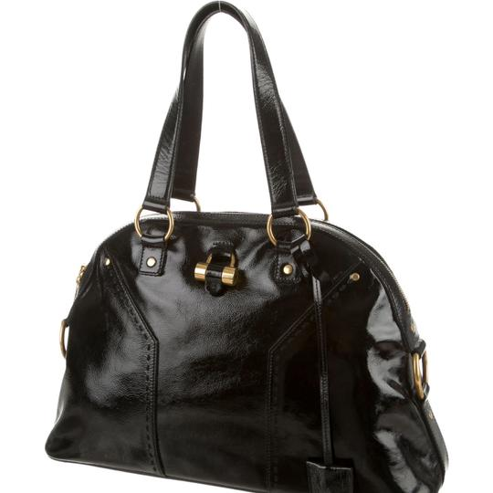 Saint Laurent Muse Yves Patent Leather Muse Ysl Golden Stitches Ysl Tote in Black Image 4
