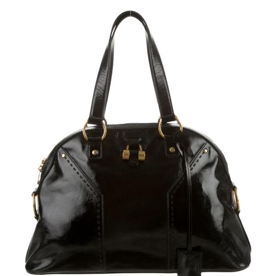 Saint Laurent Muse Yves Patent Leather Muse Ysl Golden Stitches Ysl Tote in Black Image 5