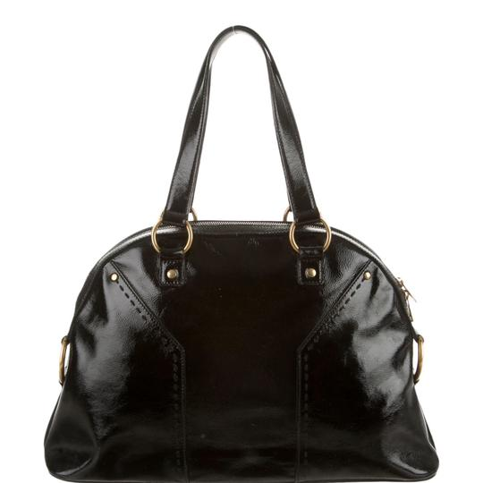 Saint Laurent Muse Yves Patent Leather Muse Ysl Golden Stitches Ysl Tote in Black Image 6