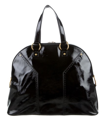 Saint Laurent Muse Yves Patent Leather Muse Ysl Golden Stitches Ysl Tote in Black Image 9