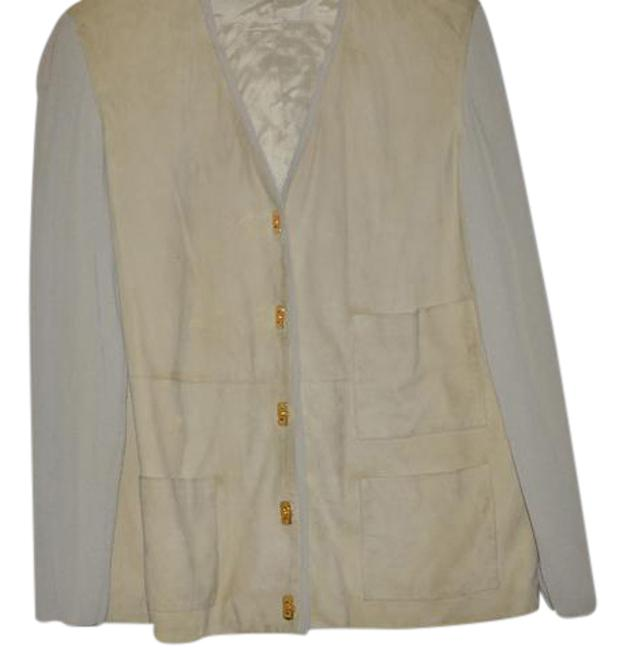 Item - Light Green Gold W Suede Knit Logo Buttons Cardigan Size 10 (M)