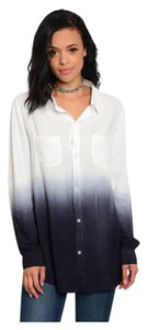 Other Bohemian Color Dipped Lightweight Work Button Down Shirt Periwinkle Ombre Tye Dye
