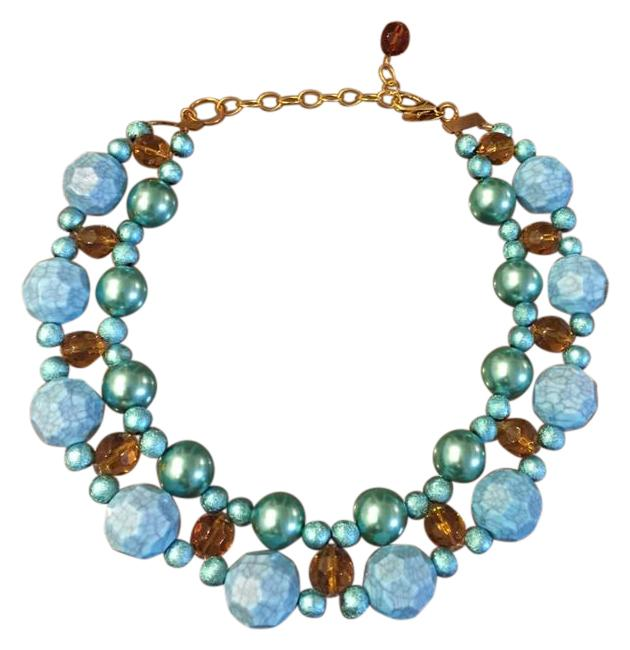 Item - Blue and Amber With Turquoise Beads. Necklace