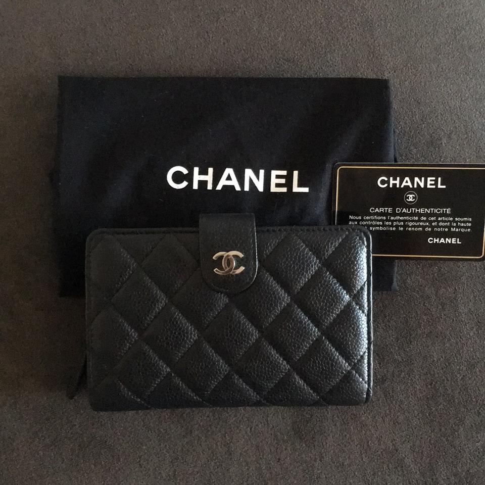 a3bb6e2a9a14 Chanel Chanel quilted caviar leather zipper pocket bifold medium wallet.