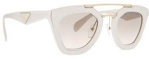 Prada Prada Ornate Off-White Ivory Saffiano Leather Spring Summer Sunglasses