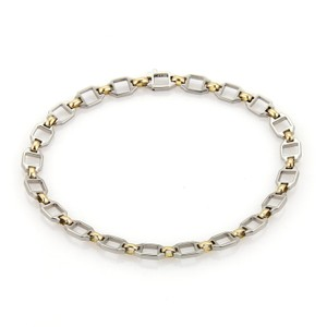 Cartier 18k Yellow Gold & Steel Fancy Square Link Chain Bracelet