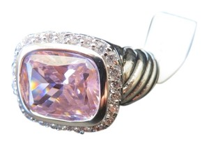 NEW, Gorgeous, Pink Sapphire, Gemstone, White Topaz, 925 Sterling Silver, Ring, Size 7, Jewelry, Holiday Gift