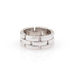 Cartier Maillon Panthere 18kt White Gold Three Rows Link Ring Size 51-US 5.7