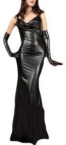 yuqung Women lycra faux leather maxi dress Shiny spandex backless Party Long Tight Dress Clubwear Gown. Spandex one Size Dress