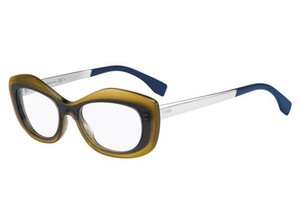 Fendi Fendi Eyeglasses 0030 07NX 00 Dark Beige Blue Palladium