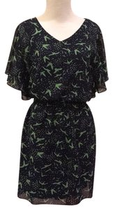 Sweet Storm short dress blue with green print on Tradesy