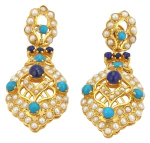 Other 15753 . Turquoise Lapis & Seed Pearls 22k Gold Dangle Earrings