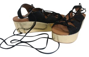 See by Chloé Black Suede and Gold - 39 Wedges