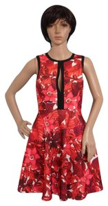 A.B.S. by Allen Schwartz short dress RED PRINT Peek-a-boo Keyhole Exposed Zipper Foliage Plus on Tradesy