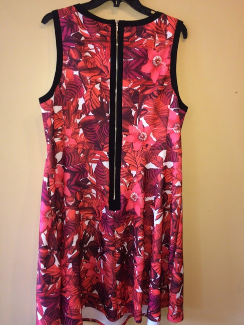 A.B.S. by Allen Schwartz short dress RED PRINT Peek-a-boo Keyhole Exposed Zipper Foliage Plus on Tradesy Image 3