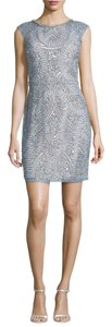 Aidan Mattox Prussian Sheath Beaded Mini Bodycon Dress