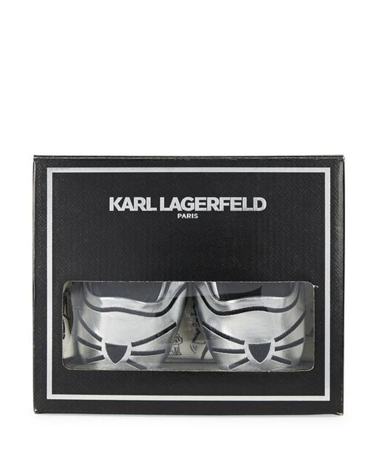 karl lagerfeld silver metallic nwt embroidered cat ballet flats flats on sale. Black Bedroom Furniture Sets. Home Design Ideas