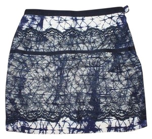 Gryphon Lace Over Printed Mini Like New Mini Skirt MULTI