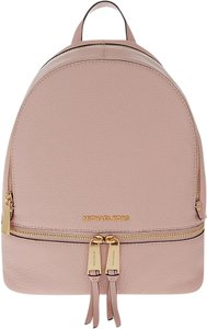 Michael Kors Mk Rhea Leather Mk Medium Rhea Mk Leather Black Rhea Pink Backpack