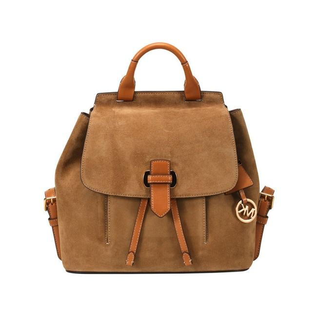Item - Romy Drawstring Push Lock (New with Tags) Desert Khaki Brown/Gold Suede Leather Backpack