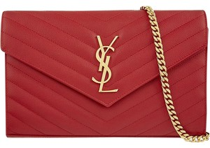 Saint Laurent Wallet On Chain Red Lipstick Cross Body Bag
