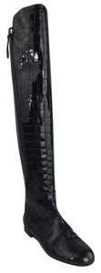 Giuseppe Zanotti Patent Leather Crocodile Embossed Over The Knee Tall Snake Black Boots