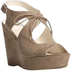 Fergalicious by Fergie Suede Lace-up Gray Wedges