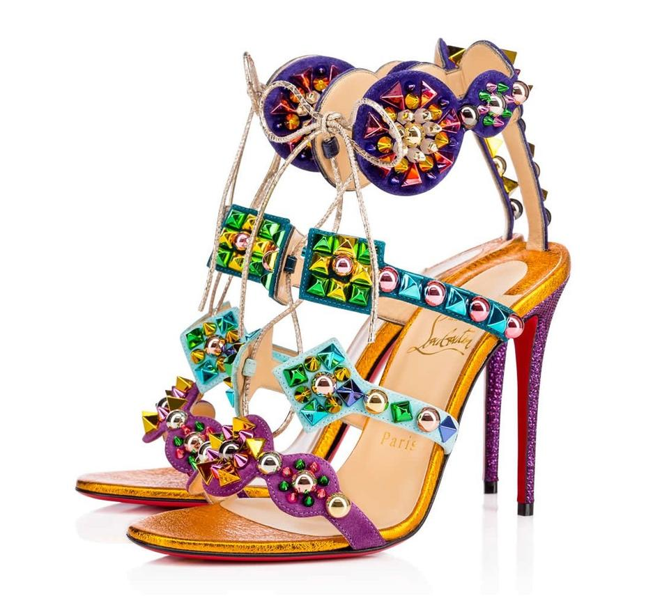 Christian Louboutin Multicolor and New Kaleikita 100mm Suede and Multicolor Leather Sandals 3ba9fc
