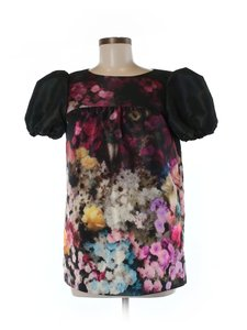 RED Valentino Floral Watercolor Top Black