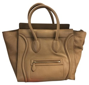 Céline Drummed Micro Pebbled Leather Luggage Satchel in Camel