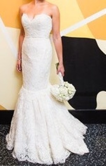 Anne Barge Ivory French Lace Sweetheart Trumpet Wedding Dress Size 6 (S)
