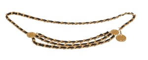 Chanel Chanel Gold Black Leather Woven Chain Coin Triple Belt Necklace