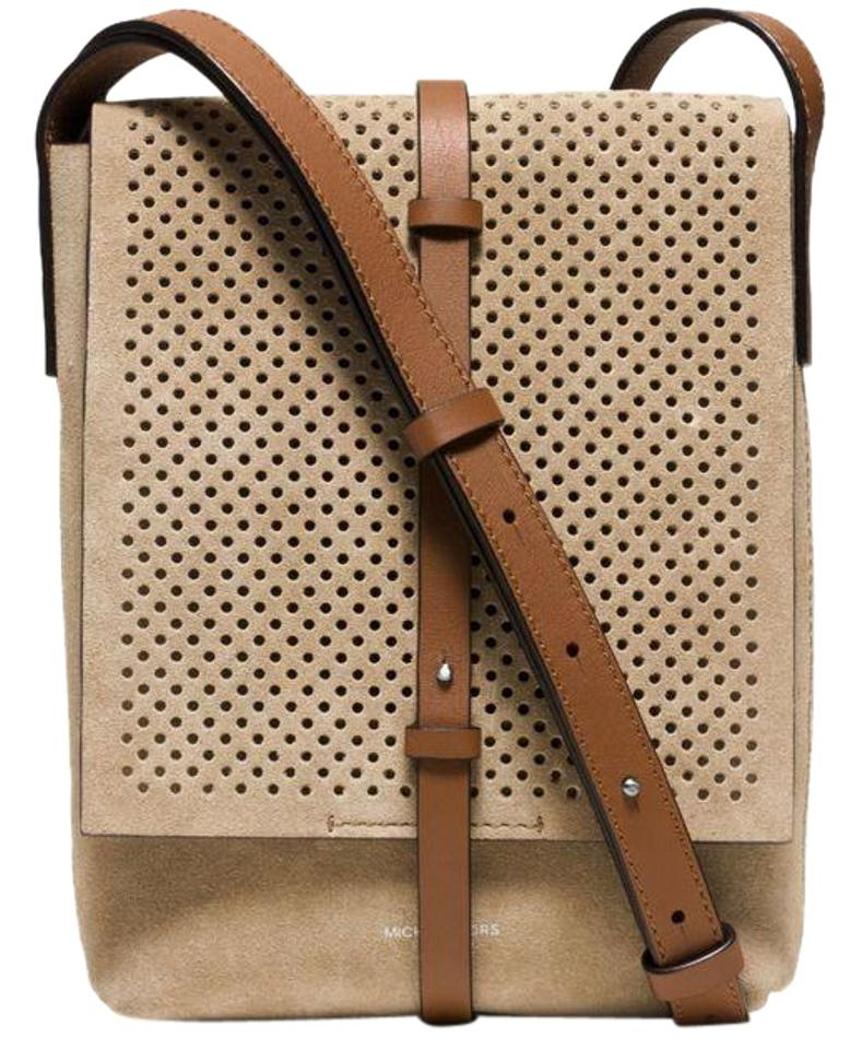 35b30645dc80 Michael Kors Collection Taos Perforated Browns Suede Messenger Bag ...