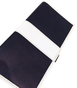 Coach vintage black and white leather coach signature checkbook holder bifold