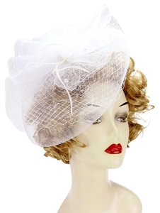 Wedding fascinator Hat New Bridal Pearl embellished flower mesh veil fascinator Hat