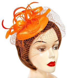 Wedding fascinator Hat New Feather Curly Bow Birdcage Veil Fascinator Hat